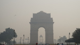 Indian Gate in the smog